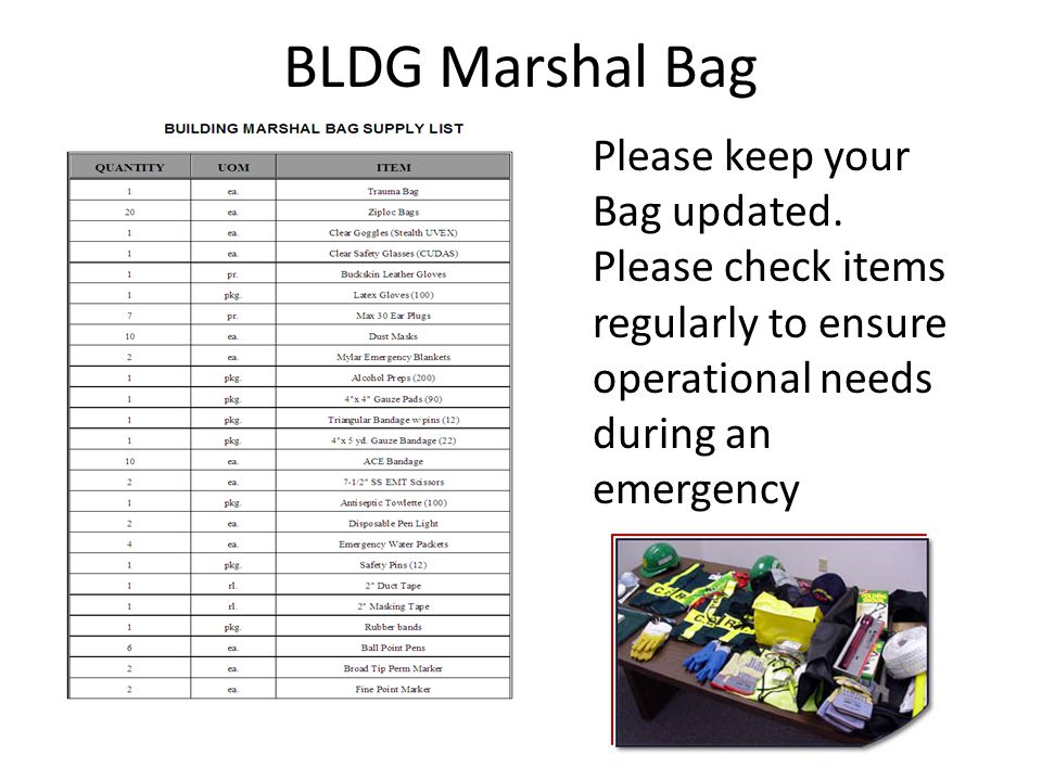 BLDG Marshal Bag Please keep your Bag updated.
