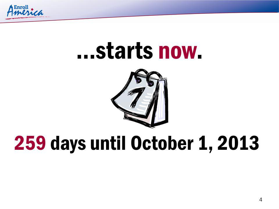 …starts now. 259 days until October 1, 2013. 4
