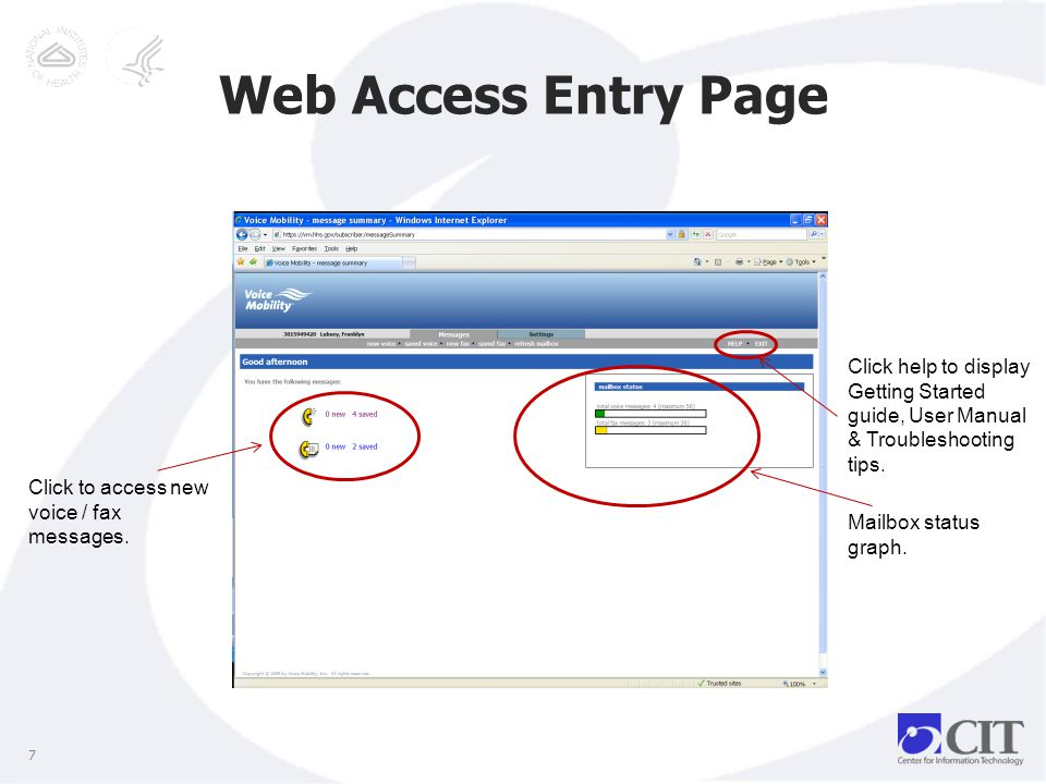 Web Access Entry Page 7 Mailbox status graph. Click to access new voice / fax messages.