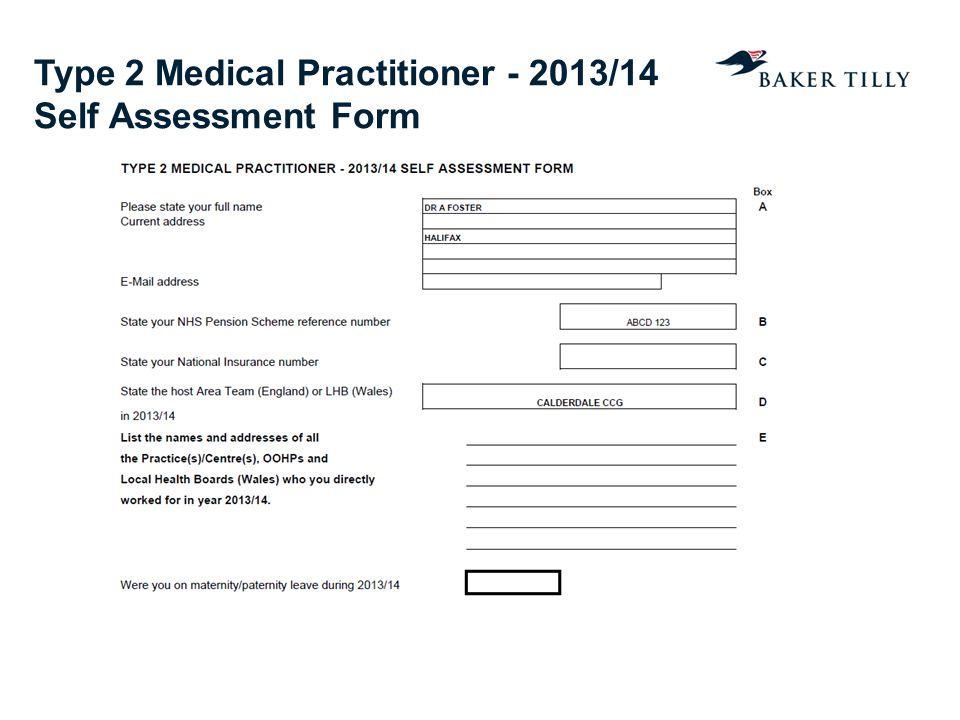 Type 2 Medical Practitioner - 2013/14 Self Assessment Form