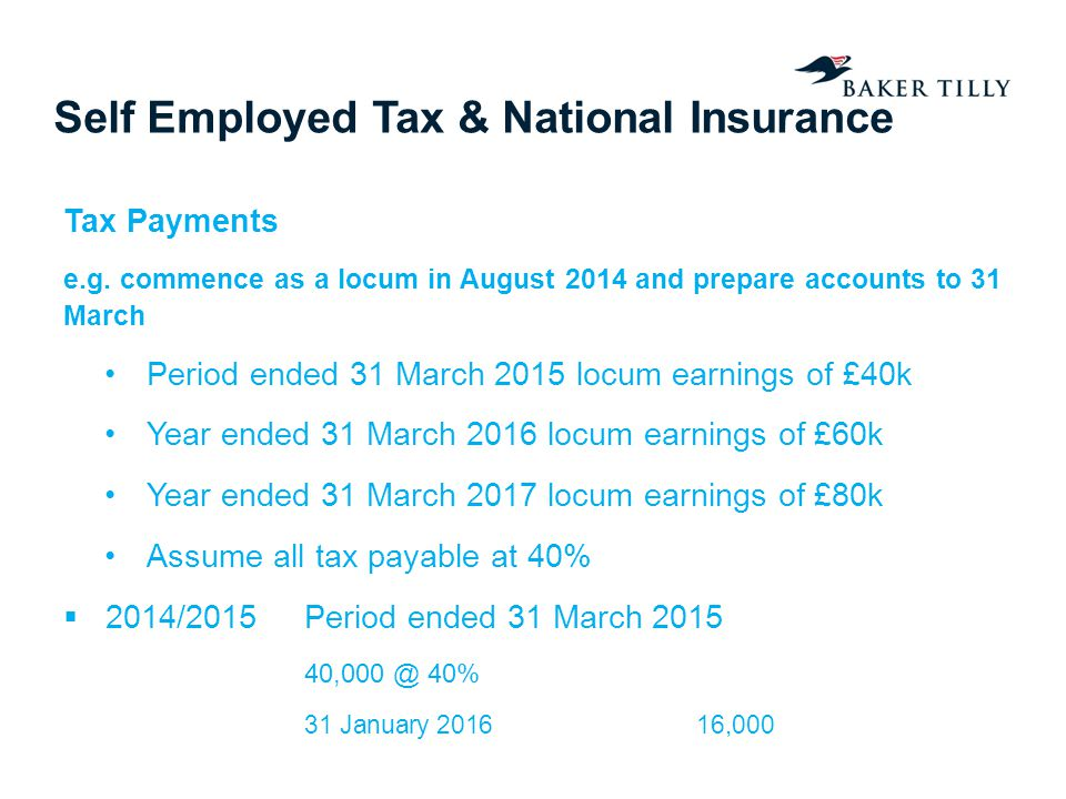 Self Employed Tax & National Insurance Tax Payments e.g.