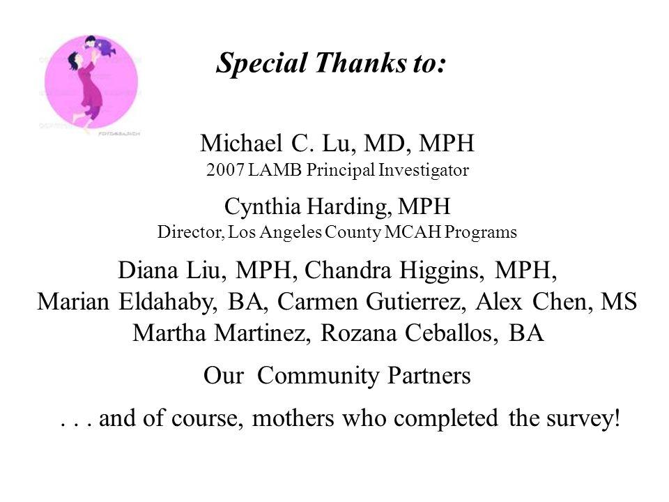 Special Thanks to: Michael C. Lu, MD, MPH 2007 LAMB Principal Investigator Cynthia Harding, MPH Director, Los Angeles County MCAH Programs Diana Liu,