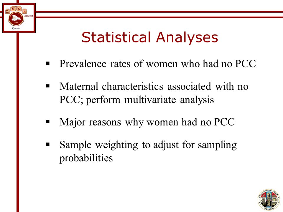 Statistical Analyses Prevalence rates of women who had no PCC Maternal characteristics associated with no PCC; perform multivariate analysis Major reasons why women had no PCC Sample weighting to adjust for sampling probabilities