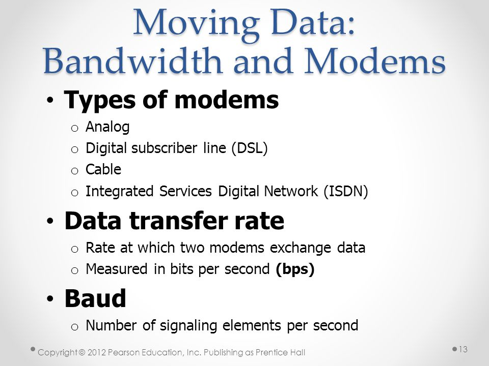 Moving Data: Bandwidth and Modems Types of modems o Analog o Digital subscriber line (DSL) o Cable o Integrated Services Digital Network (ISDN) Data t