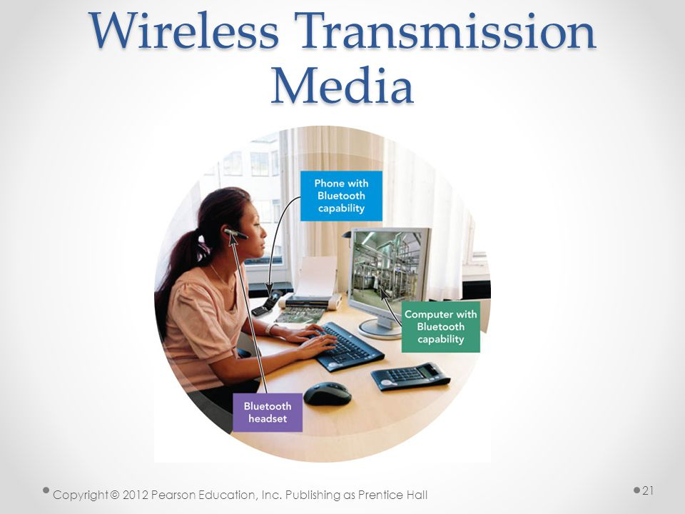 Wireless Transmission Media Copyright © 2012 Pearson Education, Inc. Publishing as Prentice Hall 21