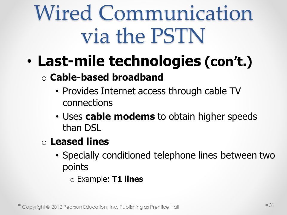 Last-mile technologies (cont.) o Cable-based broadband Provides Internet access through cable TV connections Uses cable modems to obtain higher speeds