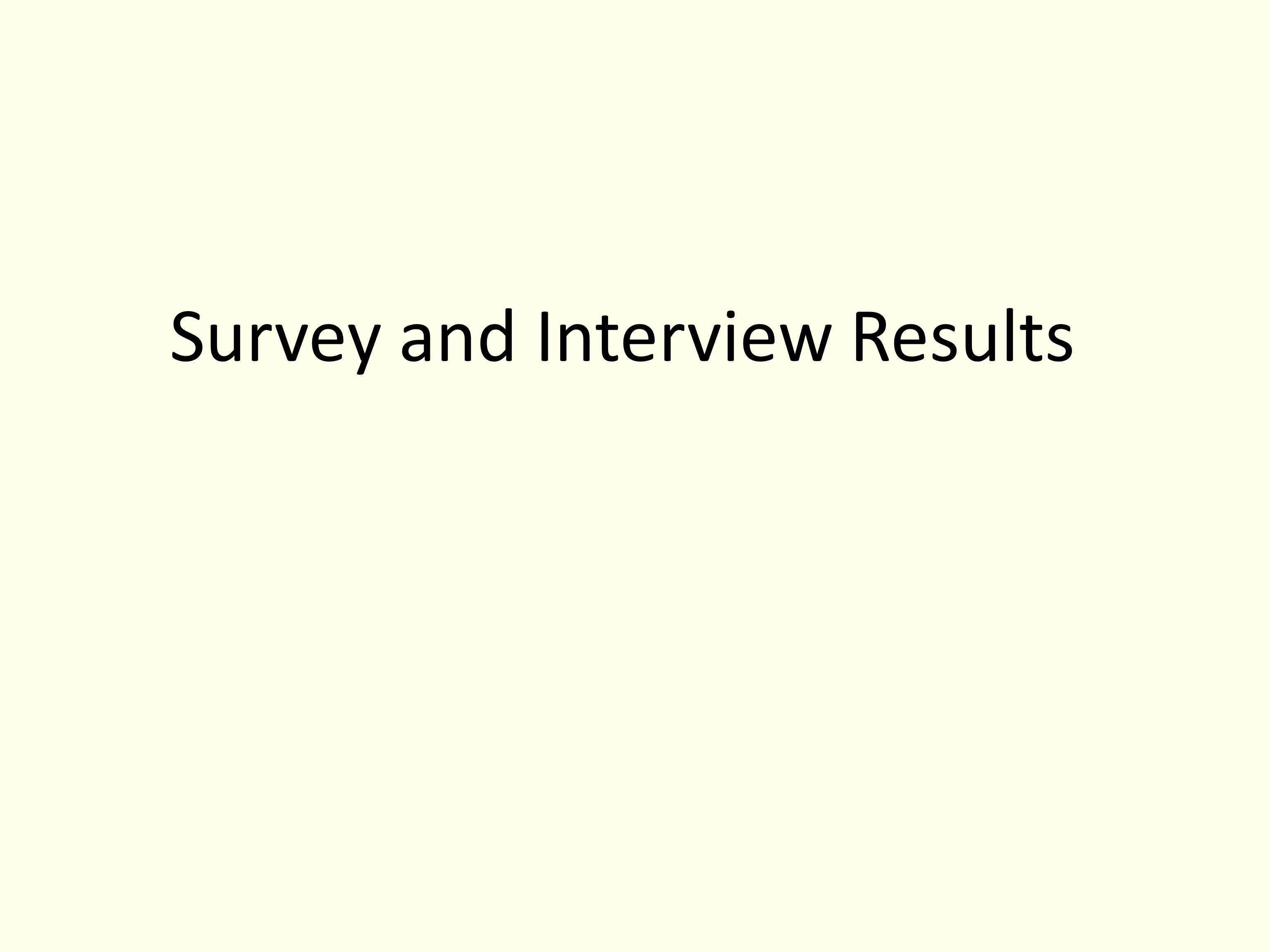 Survey and Interview Results