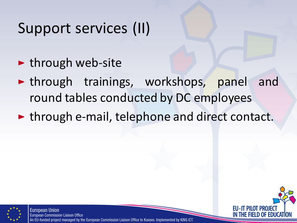 Support services (II) through web-site through trainings, workshops, panel and round tables conducted by DC employees through e-mail, telephone and di