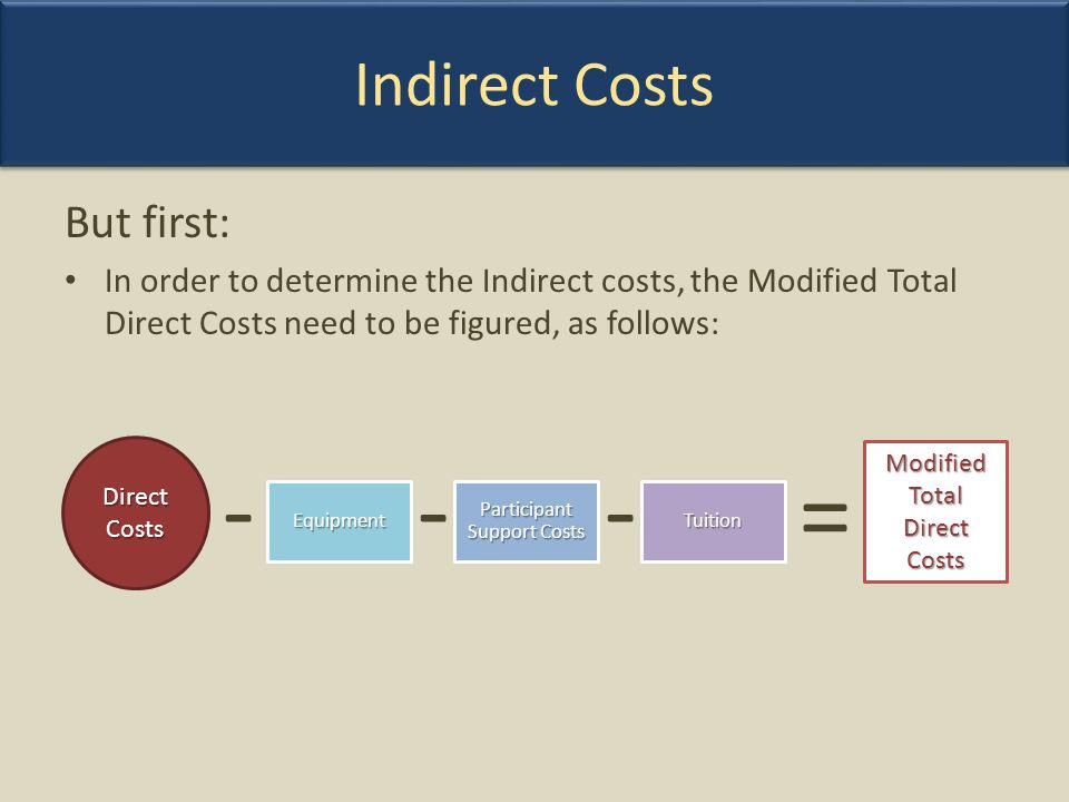 But first: In order to determine the Indirect costs, the Modified Total Direct Costs need to be figured, as follows: Direct Costs EquipmentTuition Par