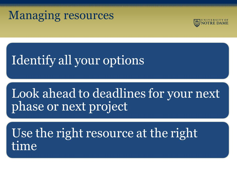 Managing resources Identify all your options Look ahead to deadlines for your next phase or next project Use the right resource at the right time