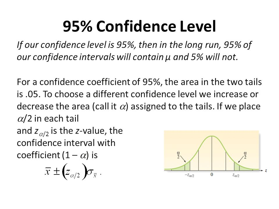 95% Confidence Level If our confidence level is 95%, then in the long run, 95% of our confidence intervals will contain µ and 5% will not. For a confi