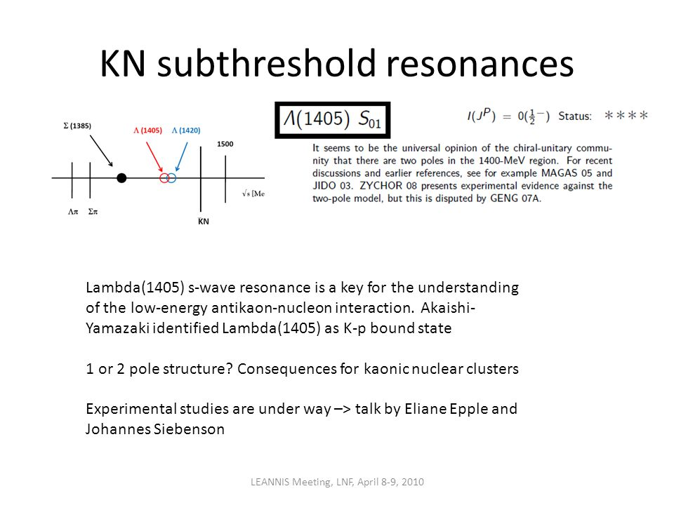 KN subthreshold resonances LEANNIS Meeting, LNF, April 8-9, 2010 Lambda(1405) s-wave resonance is a key for the understanding of the low-energy antikaon-nucleon interaction.