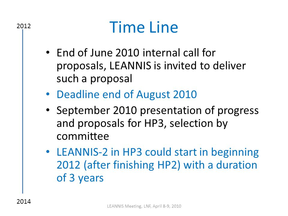 Time Line End of June 2010 internal call for proposals, LEANNIS is invited to deliver such a proposal Deadline end of August 2010 September 2010 prese