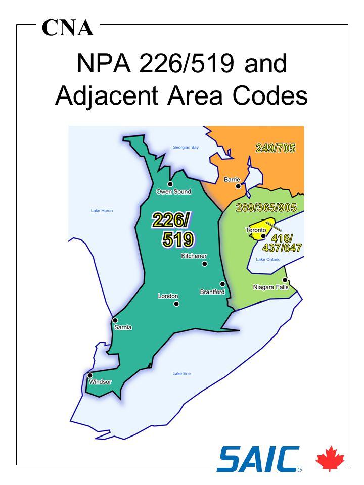 CNA NPA 226/519 and Adjacent Area Codes