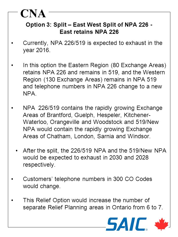 CNA Currently, NPA 226/519 is expected to exhaust in the year 2016. In this option the Eastern Region (80 Exchange Areas) retains NPA 226 and remains