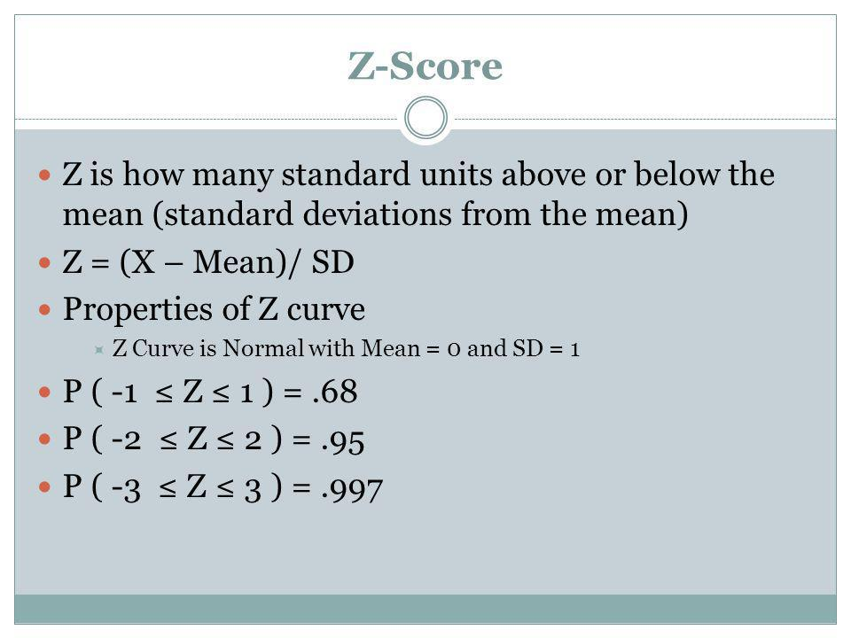 Z-Score Z is how many standard units above or below the mean (standard deviations from the mean) Z = (X – Mean)/ SD Properties of Z curve Z Curve is N