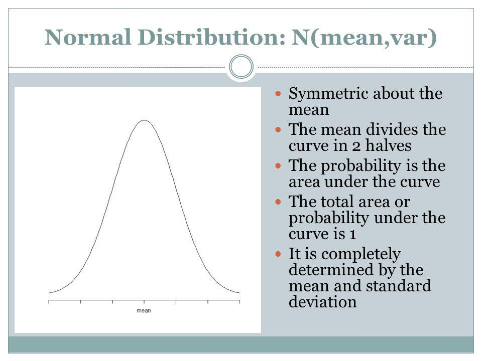 Normal Distribution: N(mean,var) Symmetric about the mean The mean divides the curve in 2 halves The probability is the area under the curve The total
