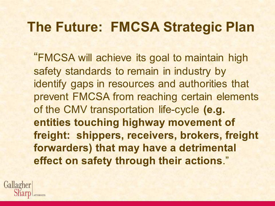 The Future: FMCSA Strategic Plan FMCSA will achieve its goal to maintain high safety standards to remain in industry by identify gaps in resources and authorities that prevent FMCSA from reaching certain elements of the CMV transportation life-cycle (e.g.