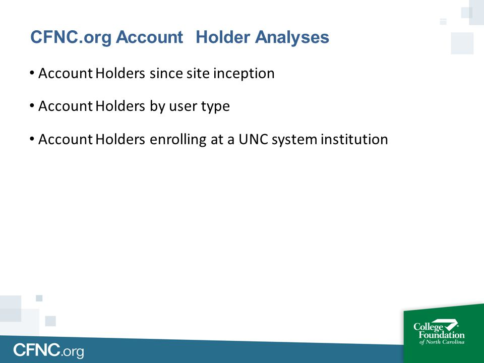 Account Holders since site inception Account Holders by user type Account Holders enrolling at a UNC system institution CFNC.org Account Holder Analys