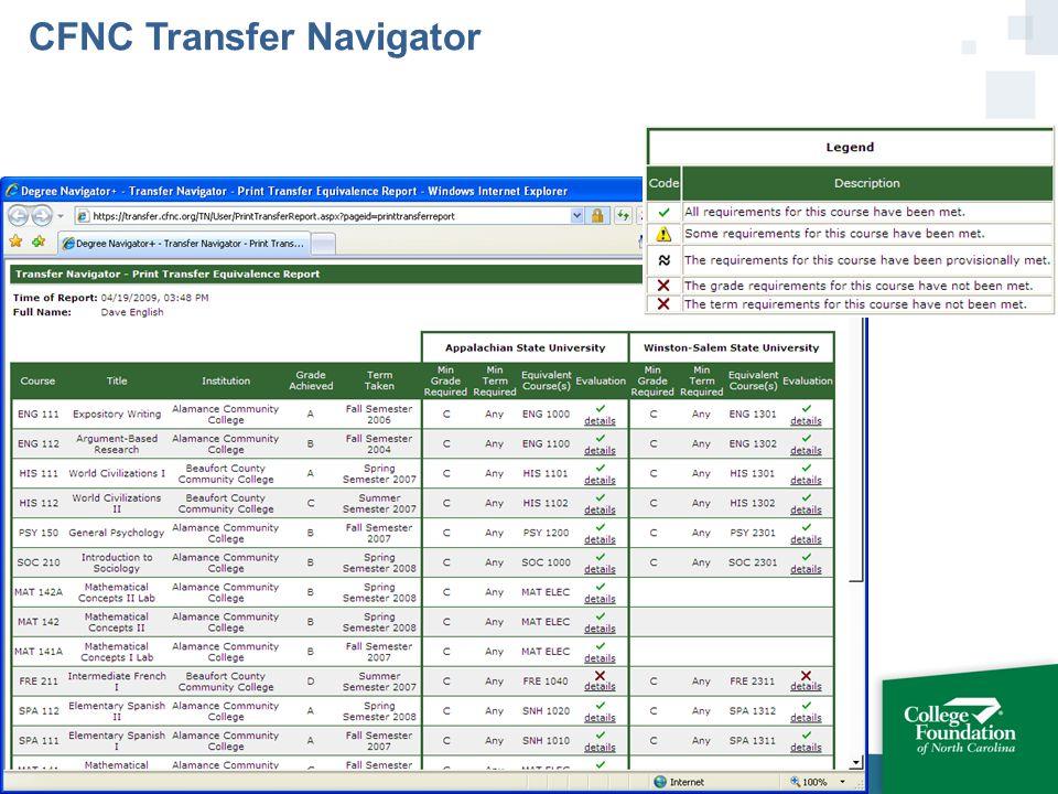 CFNC Transfer Navigator