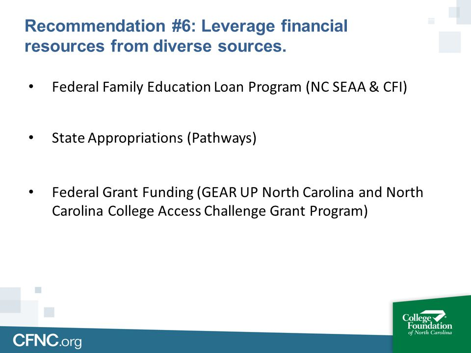 Federal Family Education Loan Program (NC SEAA & CFI) State Appropriations (Pathways) Federal Grant Funding (GEAR UP North Carolina and North Carolina