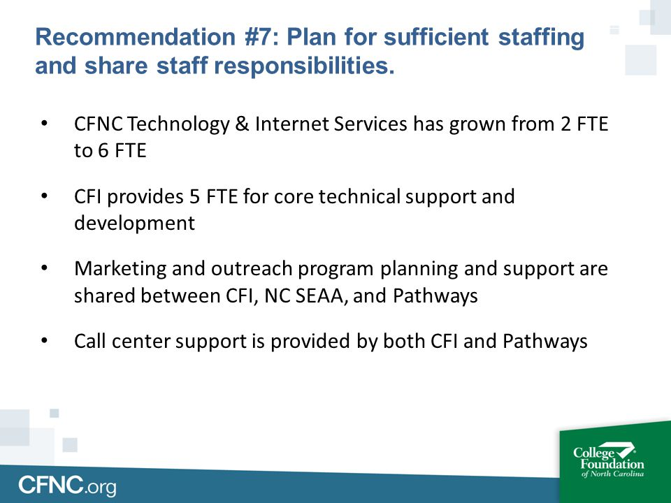 CFNC Technology & Internet Services has grown from 2 FTE to 6 FTE CFI provides 5 FTE for core technical support and development Marketing and outreach