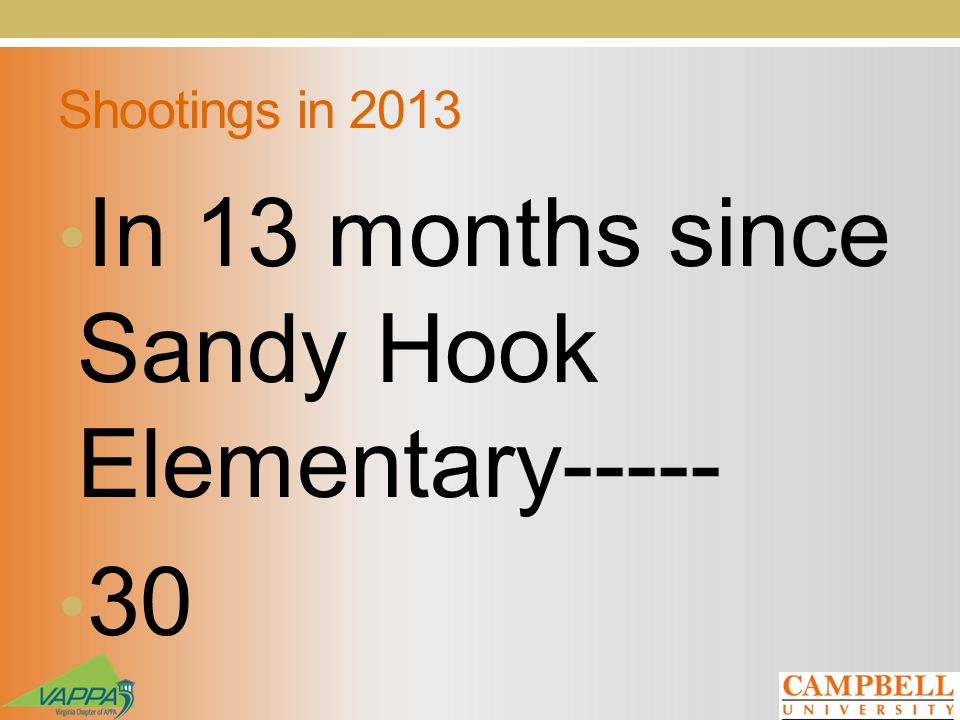 Shootings in 2013 In 13 months since Sandy Hook Elementary----- 30