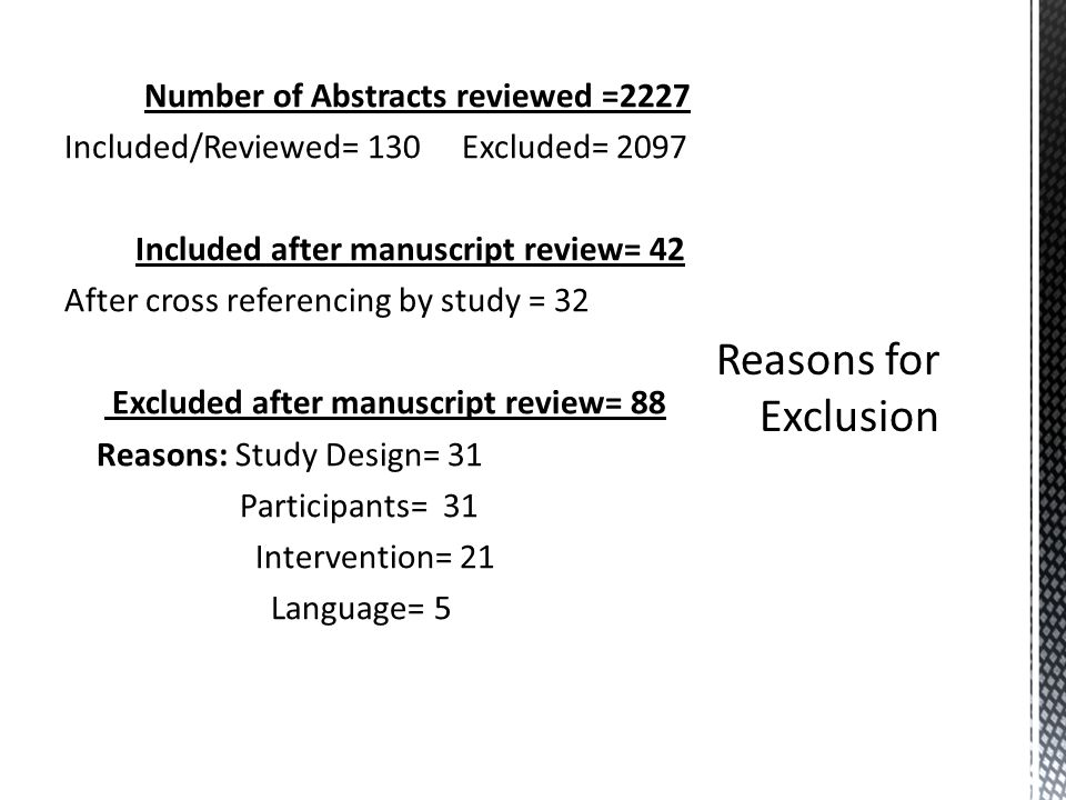 Number of Abstracts reviewed =2227 Included/Reviewed= 130 Excluded= 2097 Included after manuscript review= 42 After cross referencing by study = 32 Excluded after manuscript review= 88 Reasons: Study Design= 31 Participants= 31 Intervention= 21 Language= 5