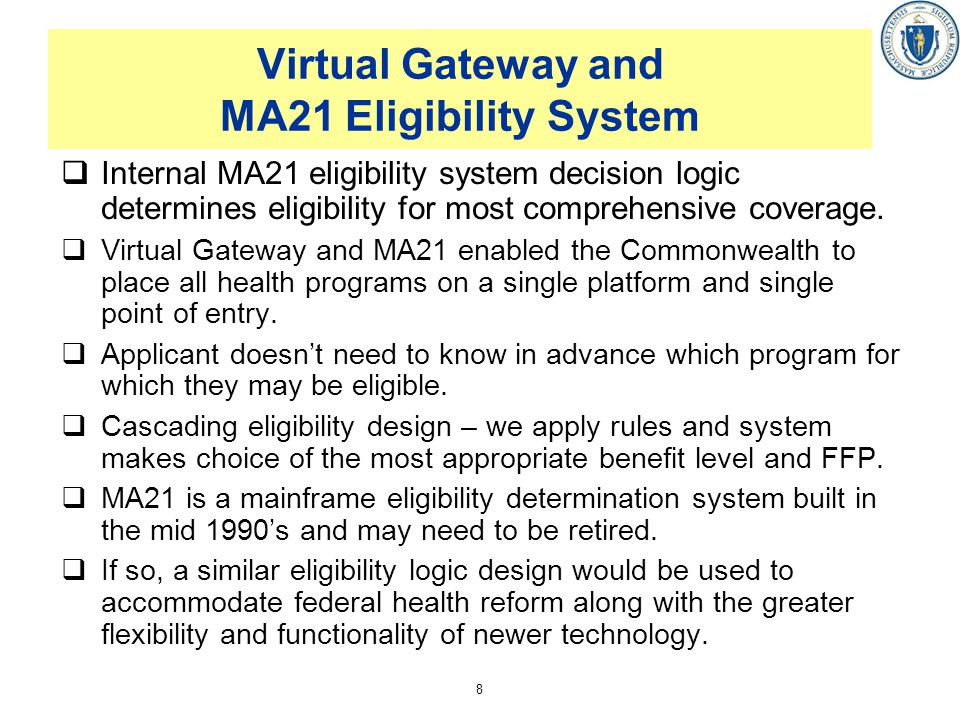 8 Virtual Gateway and MA21 Eligibility System Internal MA21 eligibility system decision logic determines eligibility for most comprehensive coverage.