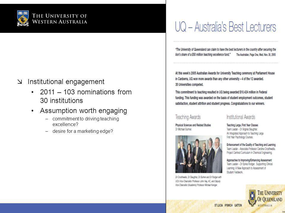 The University of Western Australia Institutional engagement 2011 – 103 nominations from 30 institutions Assumption worth engaging –commitment to driving teaching excellence.