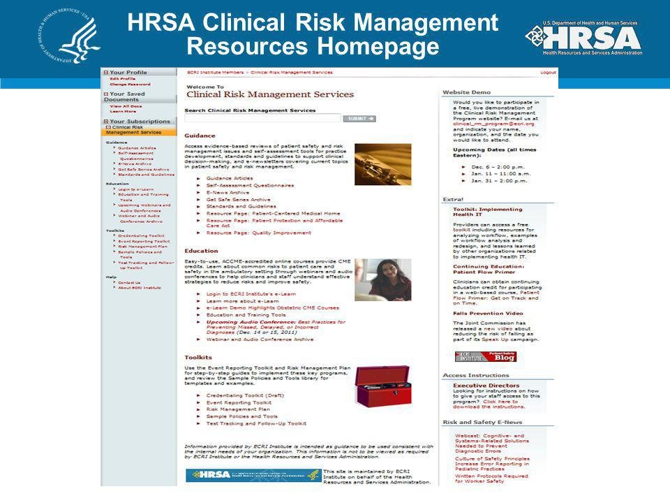HRSA Clinical Risk Management Resources Homepage