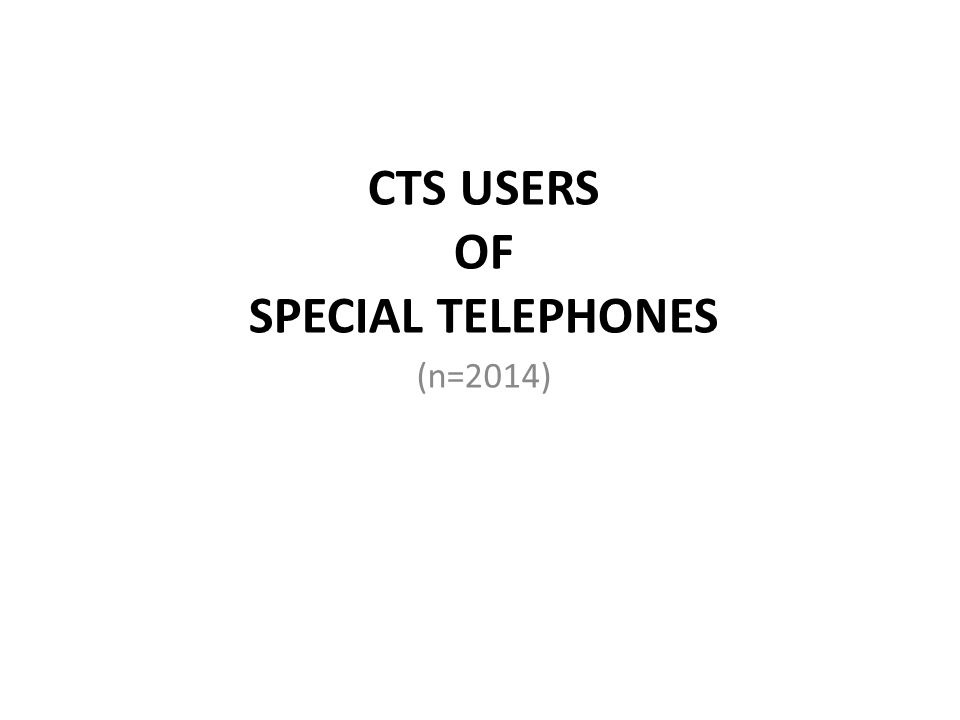 CTS USERS OF SPECIAL TELEPHONES (n=2014)