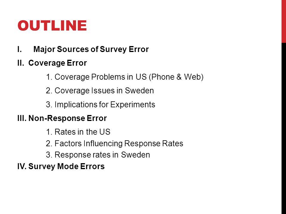I.MAJOR SOURCES OF SURVEY ERROR (ALWIN/GROVES) 1.