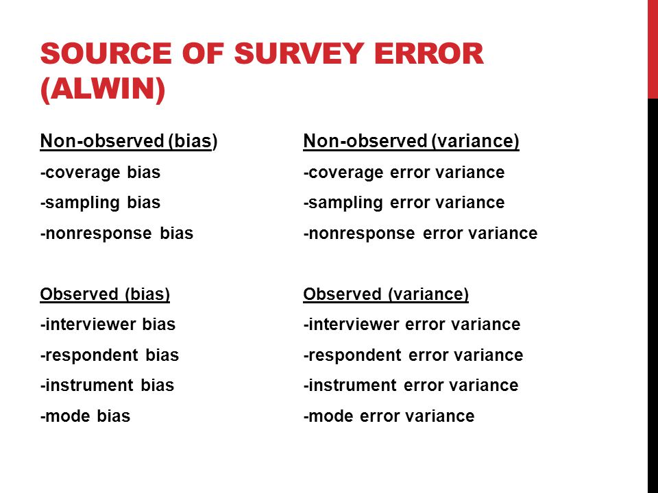 SOURCE OF SURVEY ERROR (ALWIN) Non-observed (bias) Non-observed (variance) -coverage bias -coverage error variance -sampling bias-sampling error variance -nonresponse bias-nonresponse error variance Observed (bias) Observed (variance) -interviewer bias-interviewer error variance -respondent bias-respondent error variance -instrument bias-instrument error variance -mode bias-mode error variance