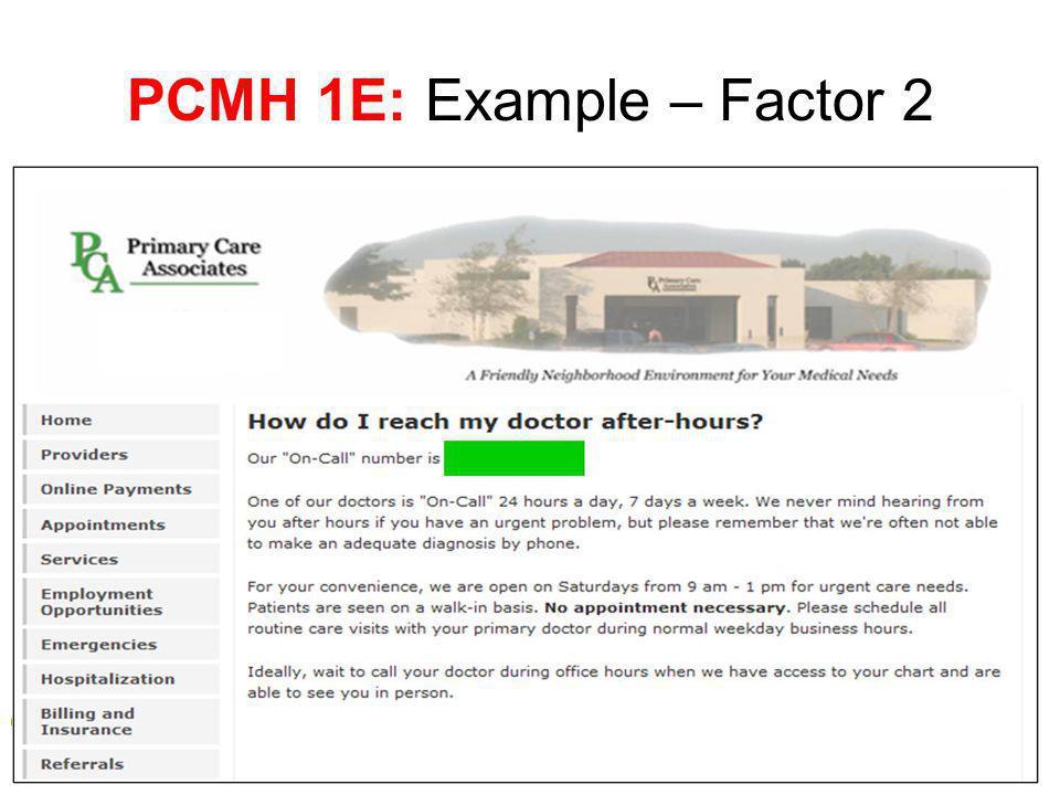 PCMH 1E: Example – Factor 2