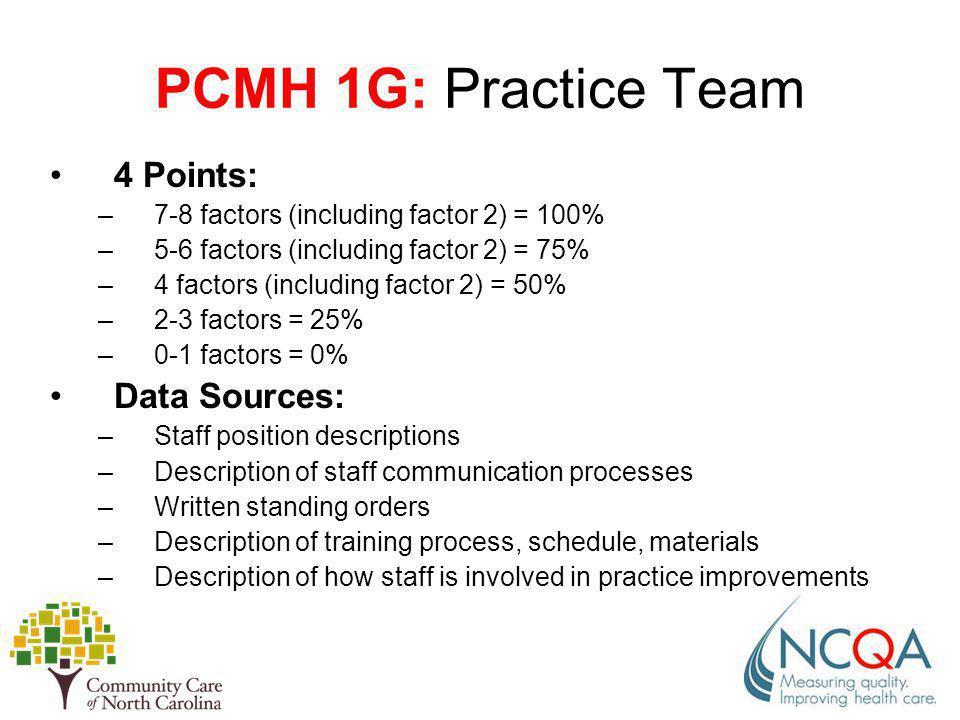 PCMH 1G: Practice Team 4 Points: –7-8 factors (including factor 2) = 100% –5-6 factors (including factor 2) = 75% –4 factors (including factor 2) = 50