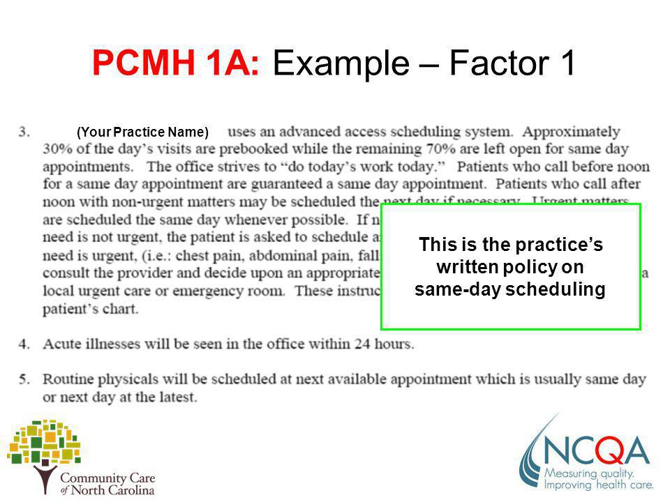 (Your Practice Name) PCMH 1A: Example – Factor 1 This is the practices written policy on same-day scheduling