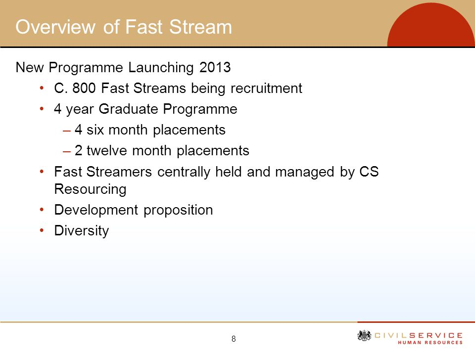 8 Overview of Fast Stream New Programme Launching 2013 C. 800 Fast Streams being recruitment 4 year Graduate Programme –4 six month placements –2 twel