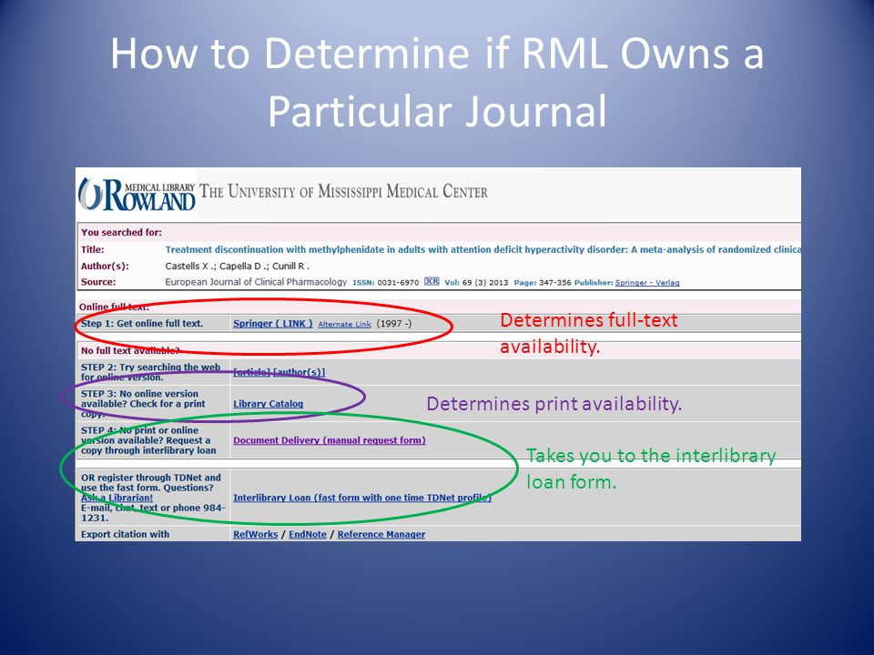 How to Determine if RML Owns a Particular Journal Determines full-text availability.