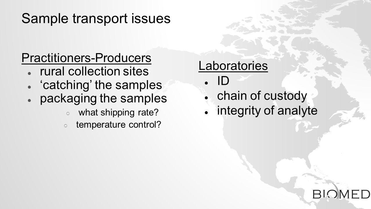 Sample transport issues Practitioners-Producers rural collection sites catching the samples packaging the samples what shipping rate? temperature cont