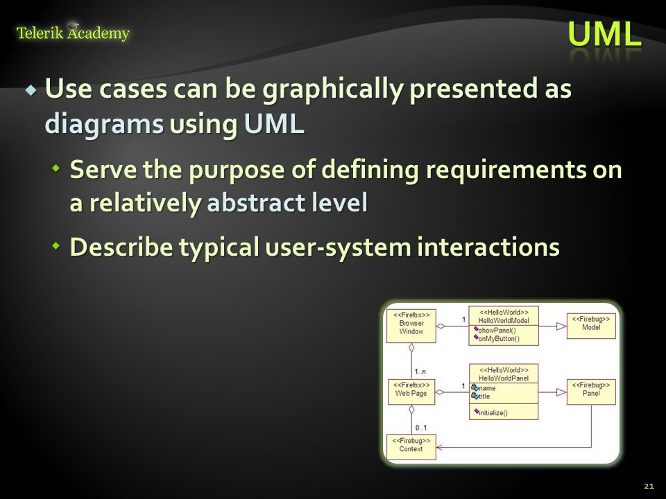 Use cases can be graphically presented as diagrams using UML Use cases can be graphically presented as diagrams using UML Serve the purpose of definin