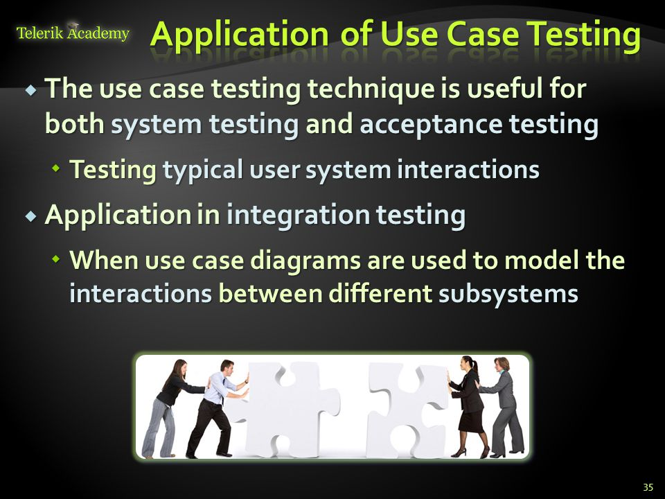 The use case testing technique is useful for both system testing and acceptance testing The use case testing technique is useful for both system testi