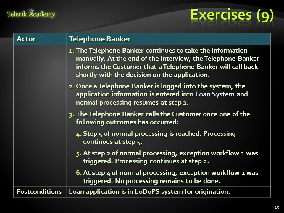 45Actor Telephone Banker 1.The Telephone Banker continues to take the information manually. At the end of the interview, the Telephone Banker informs