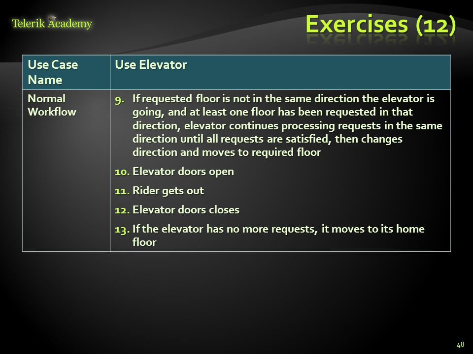 48 Use Case Name Use Elevator Normal Workflow 9.If requested floor is not in the same direction the elevator is going, and at least one floor has been