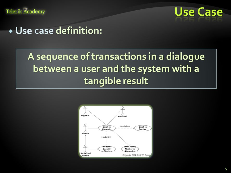 Use case definition: Use case definition: 5 A sequence of transactions in a dialogue between a user and the system with a tangible result