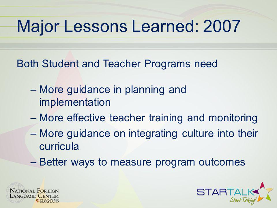 Major Lessons Learned: 2007 Both Student and Teacher Programs need –More guidance in planning and implementation –More effective teacher training and monitoring –More guidance on integrating culture into their curricula –Better ways to measure program outcomes