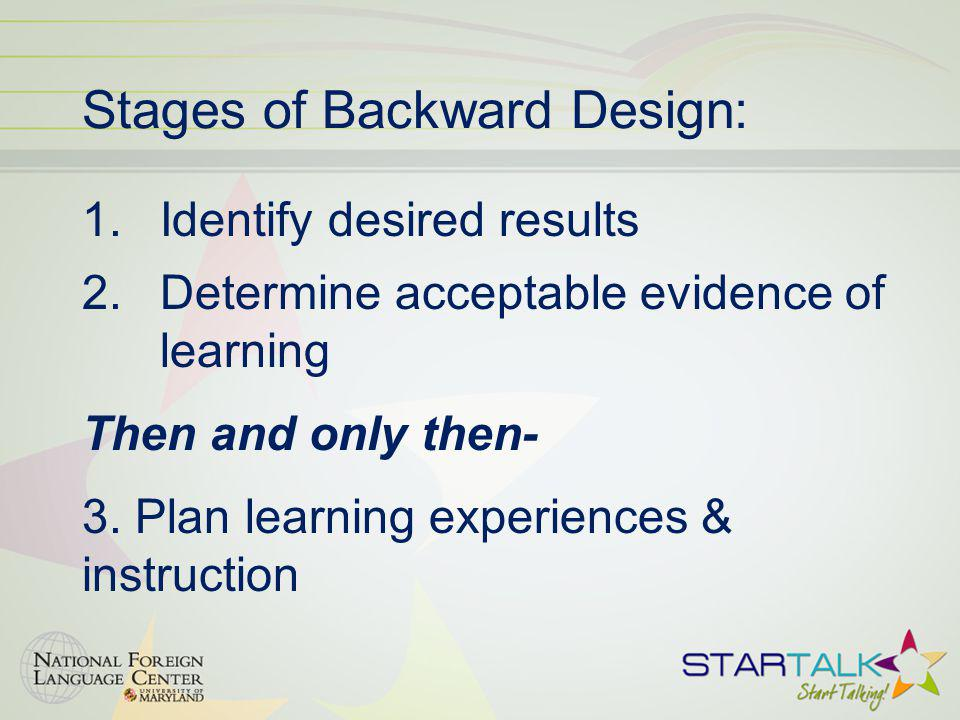 Stages of Backward Design: 1.Identify desired results 2.Determine acceptable evidence of learning Then and only then- 3.