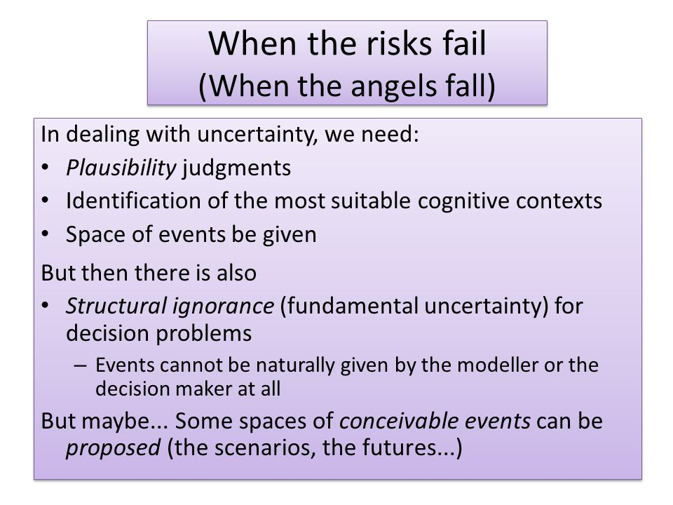 When the risks fail (When the angels fall) In dealing with uncertainty, we need: Plausibility judgments Identification of the most suitable cognitive contexts Space of events be given But then there is also Structural ignorance (fundamental uncertainty) for decision problems – Events cannot be naturally given by the modeller or the decision maker at all But maybe...