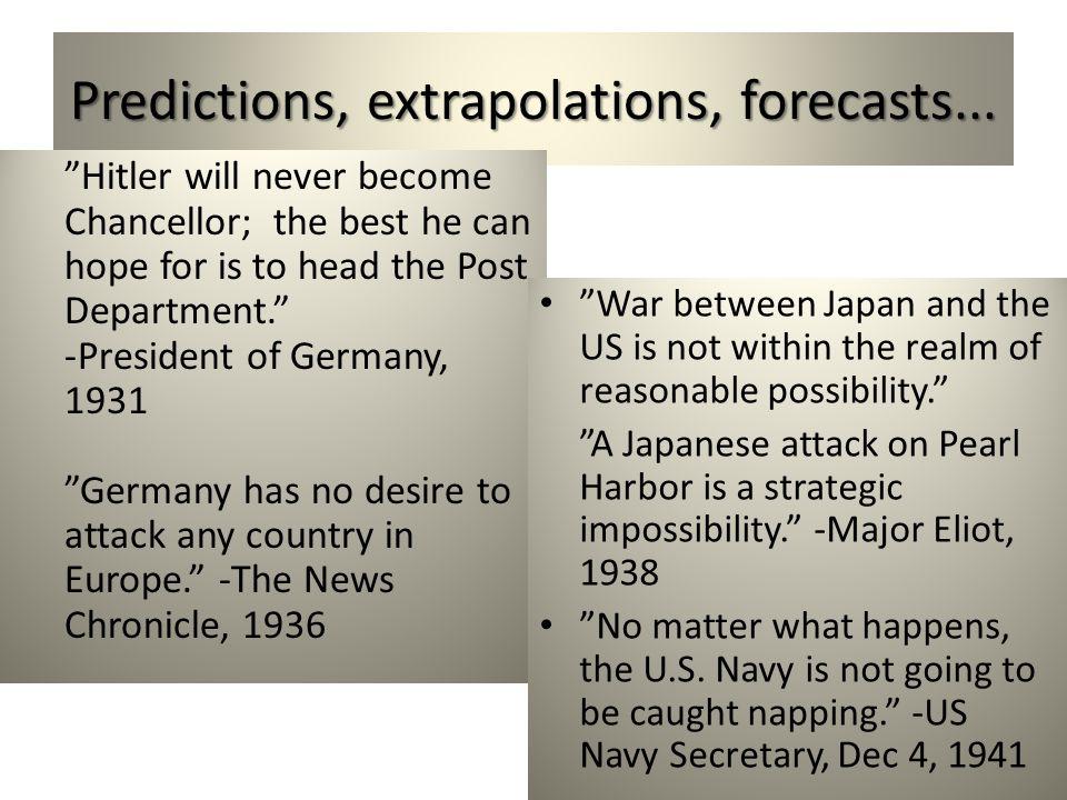 Predictions, extrapolations, forecasts...