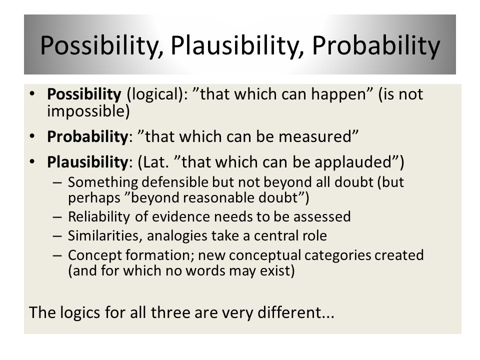 Possibility, Plausibility, Probability Possibility (logical): that which can happen (is not impossible) Probability: that which can be measured Plausibility: (Lat.